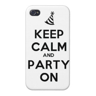 Keep Calm and party on birthday party occasion coo Cover For iPhone 4
