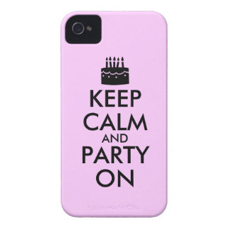 Keep Calm and Party On Cake Customizable iPhone 4 Covers