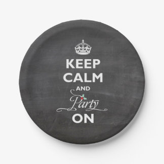 Keep Calm And Party On Chalkboard Funny Holiday 7 Inch Paper Plate