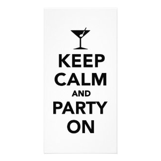 Keep calm and Party on Personalized Photo Card