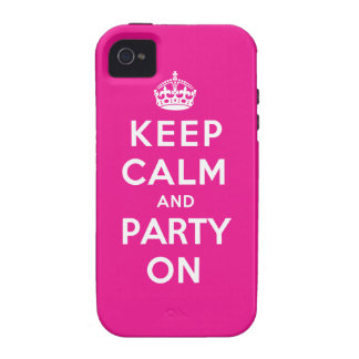 Keep Calm and Party On - Pink iPhone 4 Cover