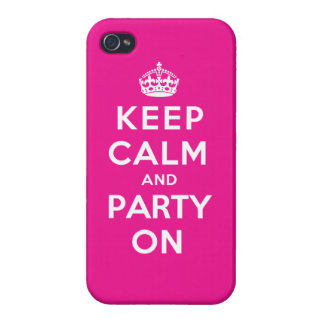 Keep Calm and Party On - Pink iPhone 4/4S Cases