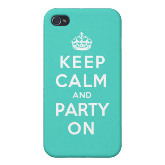 Keep Calm and Party On - Turquoise Green Case For The iPhone 4