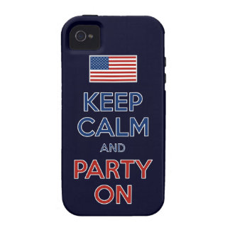 Keep Calm And Party On U.S. Flag 4th Of July iPhone 4 Cover