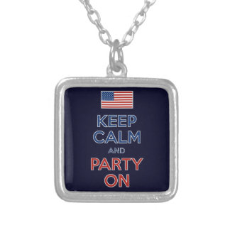 Keep Calm And Party On U.S. Flag 4th Of July Silver Plated Necklace