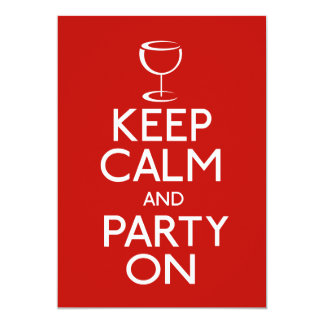 Keep Calm And Party On Wine Glass Card