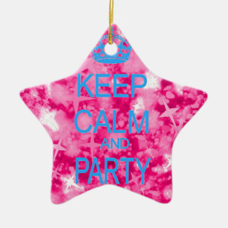 Keep calm and party pink starry ornament
