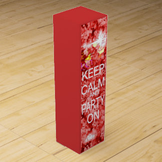 Keep Calm and party red celebration Wine Gift Box