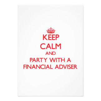 Keep Calm and Party With a Financial Adviser Personalized Invitations