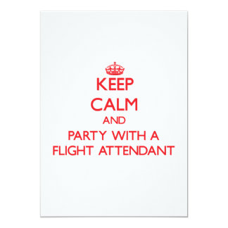 Keep Calm and Party With a Flight Attendant 13 Cm X 18 Cm Invitation Card