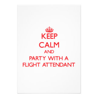 Keep Calm and Party With a Flight Attendant Invitations