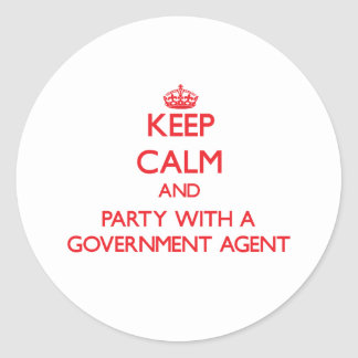 Keep Calm and Party With a Government Agent Sticker