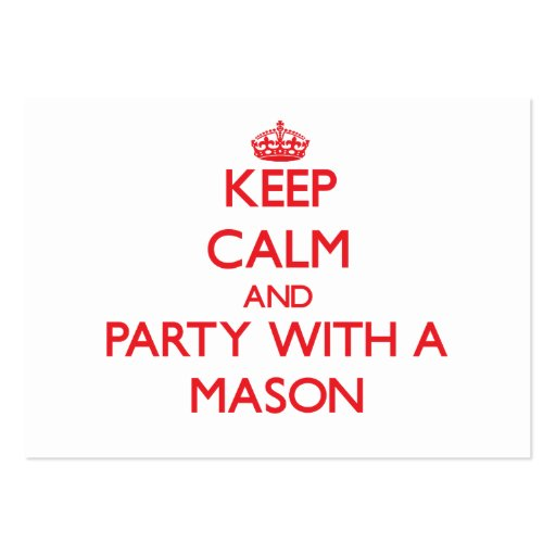 Keep Calm and Party With a Mason Business Card Template
