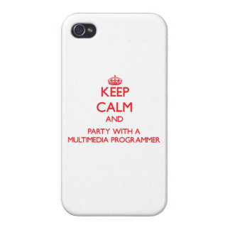 Keep Calm and Party With a Multimedia Programmer iPhone 4/4S Covers