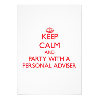 Keep Calm and Party With a Personal Adviser Custom Announcements