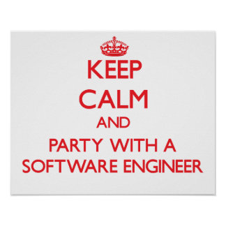 Keep Calm and Party With a Software Engineer Posters
