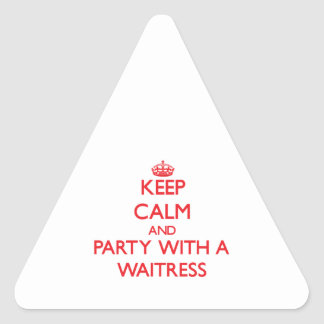 Keep Calm and Party With a Waitress Triangle Stickers