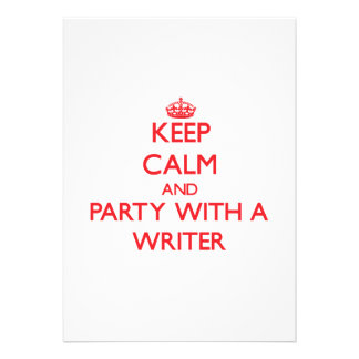 Keep Calm and Party With a Writer Personalized Announcements