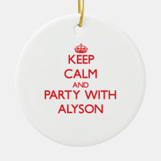 Keep Calm and Party with Alyson Double-Sided Ceramic Round Christmas Ornament