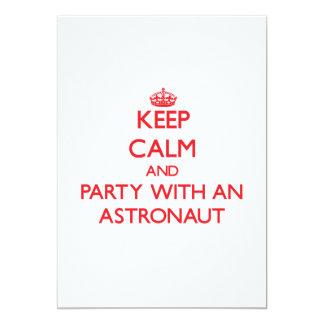 Keep Calm and Party With an Astronaut 13 Cm X 18 Cm Invitation Card