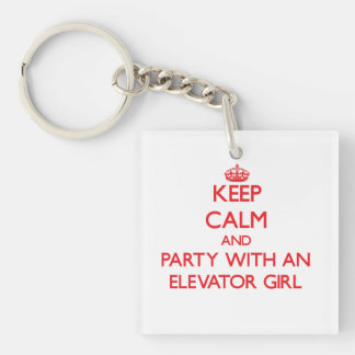 Keep Calm and Party With an Elevator Girl Single-Sided Square Acrylic Keychain