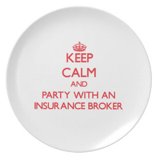 Keep Calm and Party With an Insurance Broker Dinner Plates