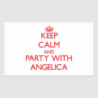 Keep Calm and Party with Angelica Rectangular Sticker