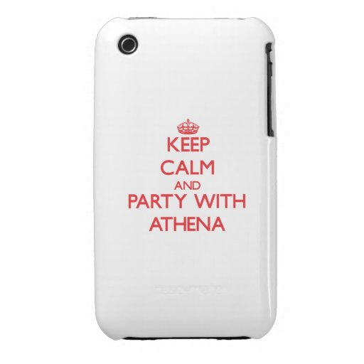 Keep Calm and Party with Athena iPhone 3 Case