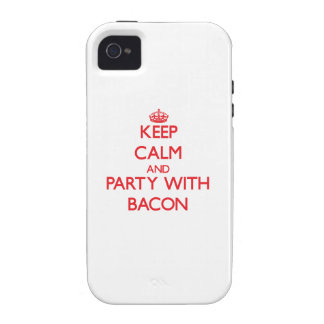 Keep calm and Party with Bacon Case-Mate iPhone 4 Cases