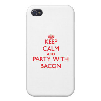 Keep calm and Party with Bacon Cover For iPhone 4