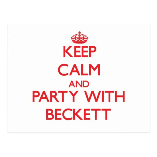 Keep calm and Party with Beckett Post Cards