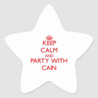 Keep calm and Party with Cain Star Sticker