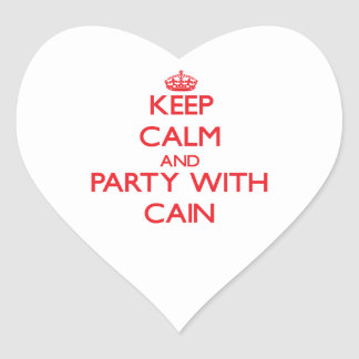 Keep calm and Party with Cain Heart Stickers