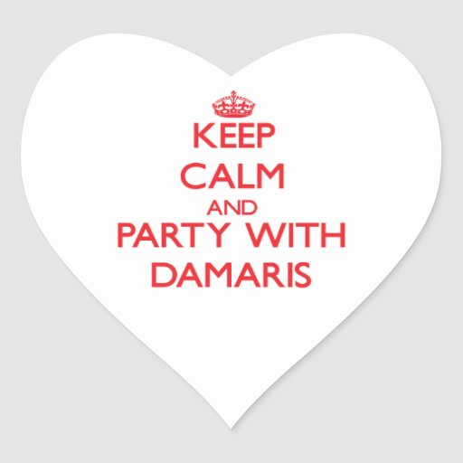 Keep Calm and Party with Damaris Heart Stickers