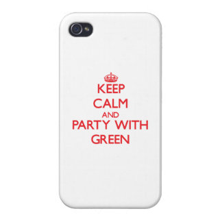 Keep calm and Party with Green Cover For iPhone 4