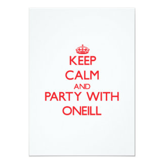 "Keep calm and Party with Oneill 5"" X 7"" Invitation Card"