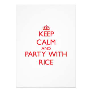 Keep calm and Party with Rice Invitations