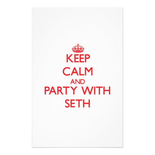 Keep calm and Party with Seth Custom Stationery