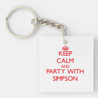 Keep calm and Party with Simpson Square Acrylic Keychains