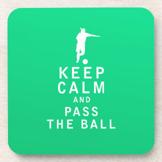 Keep Calm and Pass The Ball Drink Coaster