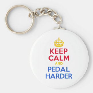 KEEP CALM and PEDAL HARDER Basic Round Button Key Ring
