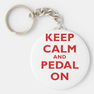 Keep Calm and Pedal On Keychain
