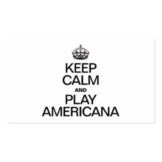 KEEP CALM AND PLAY AMERICANA BUSINESS CARD