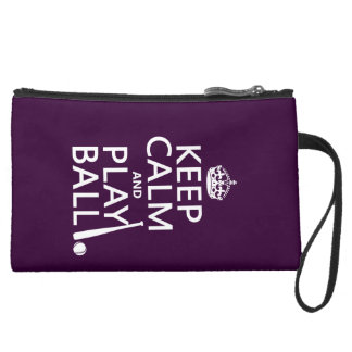 Keep Calm and Play Ball (baseball) (any color) Suede Wristlet