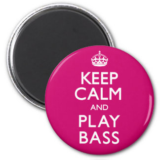 Keep Calm and Play Bass (Carry On) 6 Cm Round Magnet