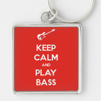 Keep Calm and Play Bass Silver-Colored Square Key Ring