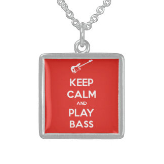 Keep Calm and Play Bass Sterling Silver Necklace