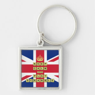 Keep Calm And Play Board Games Silver-Colored Square Key Ring