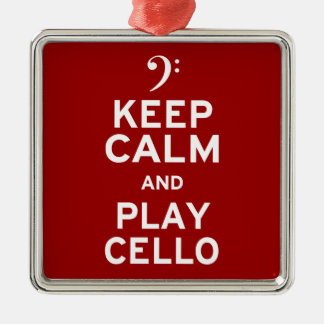 Keep Calm and Play Cello Christmas Ornament