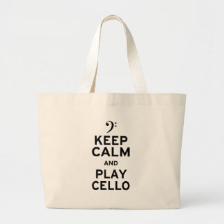 Keep Calm and Play Cello Large Tote Bag